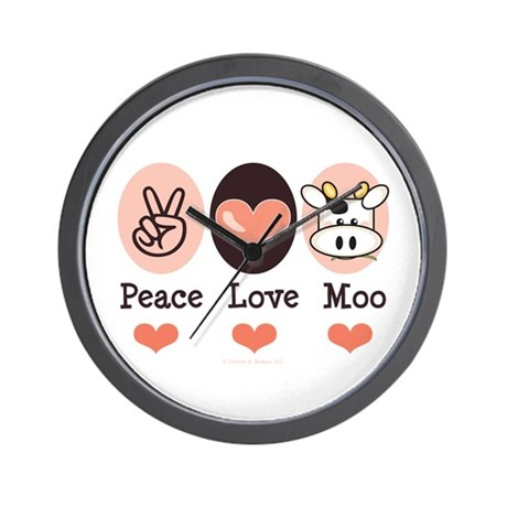 Peace Love Moo Cow Wall Clock