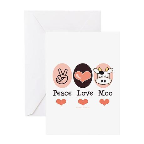Peace Love Moo Cow Greeting Card