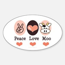 Peace Love Moo Cow Oval Decal