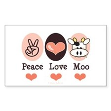 Peace Love Moo Cow Rectangle Decal