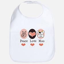 Peace Love Moo Cow Bib
