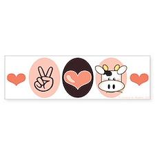 Peace Love Moo Cow Bumper Bumper Sticker