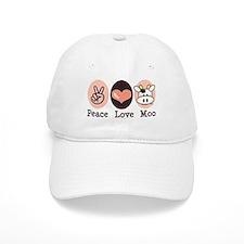 Peace Love Moo Cow Baseball Cap