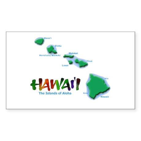 Hawaii Islands Rectangle Sticker