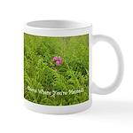 Pink Flowers in Field of Ferns - Mug