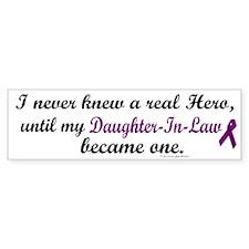 Never Knew A Hero DAUGHTER-IN-LAW (Purple) Bumper Sticker