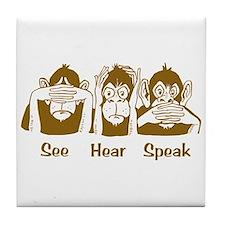 See No Evil Monkey Tile Coaster