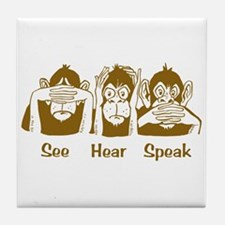 See No Evil Monkey Tile Coaster