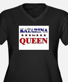 KATARINA for queen Women's Plus Size V-Neck Dark T
