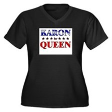 KARON for queen Women's Plus Size V-Neck Dark T-Sh