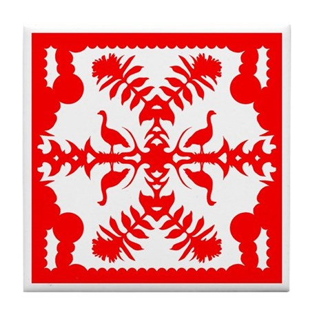Red Nene Quilt Tile Coaster