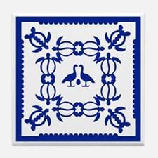 Blue Hawaiian Quilt Tile Coaster