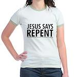 Jesus Says Repent Jr. Ringer T-Shirt