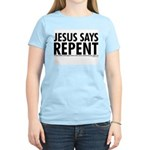 Jesus Says Repent Women's Pink T-Shirt