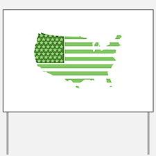 Green USA Flag Yard Sign