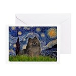 Starry Night /Pomeranian(bndl ) Greeting Card