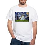 Starry Night /Pomeranian (p) White T-Shirt