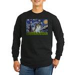 Starry Night /Pomeranian (p) Long Sleeve Dark T-Sh