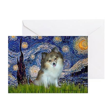 Starry Night /Pomeranian (p) Greeting Cards (Pk of