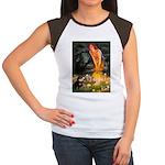Fairies / Pomeranian (b&t) Women's Cap Sleeve T-Sh