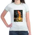 Fairies / Pomeranian (b&t) Jr. Ringer T-Shirt