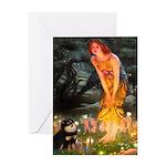 Fairies / Pomeranian (b&t) Greeting Card