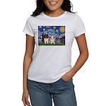 Starry Night /Pomeranian pups Women's T-Shirt