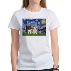 Starry Night /Pomeranian pups Women's T-Shirt