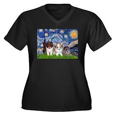 Starry Night /Pomeranian pups Women's Plus Size V-