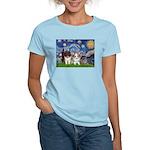 Starry Night /Pomeranian pups Women's Light T-Shir