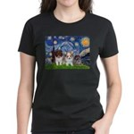 Starry Night /Pomeranian pups Women's Dark T-Shirt