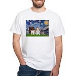 Starry Night /Pomeranian pups White T-Shirt