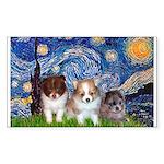 Starry Night /Pomeranian pups Sticker (Rectangular