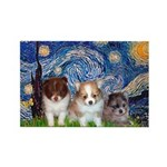 Starry Night /Pomeranian pups Rectangle Magnet (10