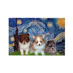 Starry Night /Pomeranian pups Rectangle Magnet