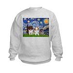 Starry Night /Pomeranian pups Kids Sweatshirt