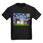 Starry Night /Pomeranian pups Kids Dark T-Shirt