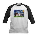 Starry Night /Pomeranian pups Kids Baseball Jersey
