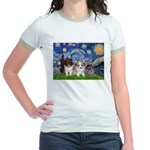 Starry Night /Pomeranian pups Jr. Ringer T-Shirt
