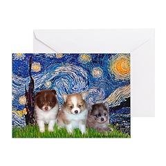Starry Night /Pomeranian pups Greeting Card