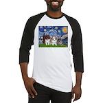 Starry Night /Pomeranian pups Baseball Jersey