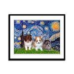 Starry Night /Pomeranian pups Framed Panel Print