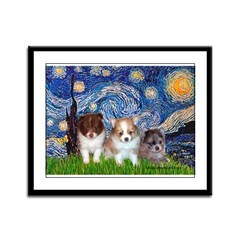 Starry Night /Pomeranian pups Framed Panel Print