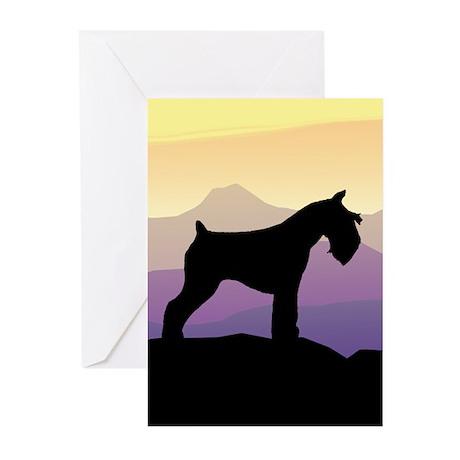Purple Mt. Mini Schnauzer Greeting Cards (Pk of 10