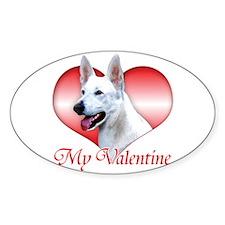 White Shep Valentine Oval Decal