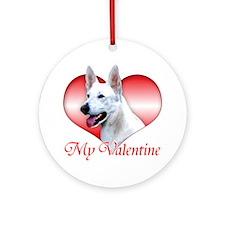 White Shep Valentine Ornament (Round)