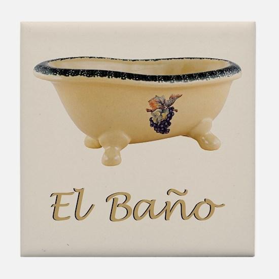 El Bano Bathroom Art Tile Coaster