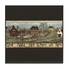 Primitive Americana God Shed Art Tile Coaster