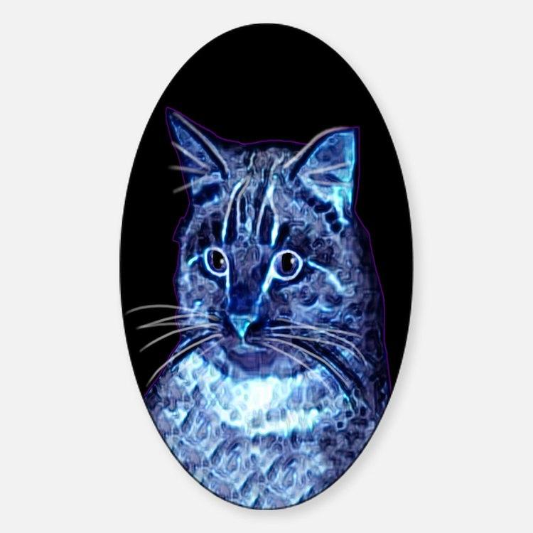 Blue Digital Cat Oval Decal
