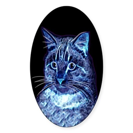 Blue Digital Cat Oval Sticker
